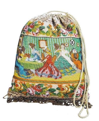 This early 19th-century beaded pouch bag pictures ladies at tea on one side and around a piano on the other. The beading, fringe and silk lining are in excellent condition, so it sold for $1,026 a ...