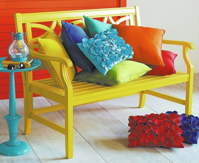 Courtesy Pier 1 Imports This bench in a playful hue can work well with more conservative, neutral outdoor furniture. It adds a pop of color; pick it up in small accessories like lanterns or cushio ...