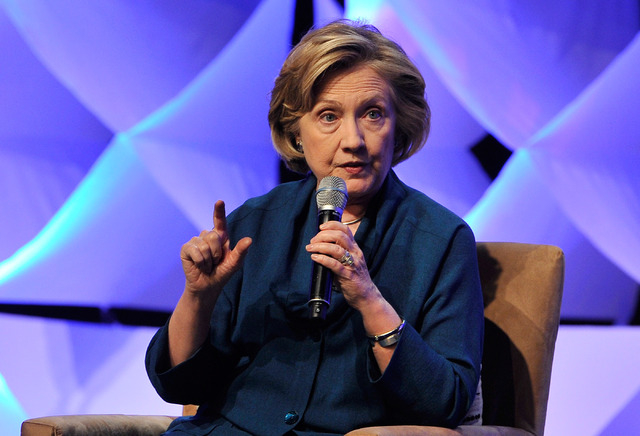 Former Secretary of State Hillary Clinton answers questions during the Institute of Scrap Recycling Industries' annual conference at the Mandalay Bay hotel-casino on Thursday, April 10, 2014. Clin ...