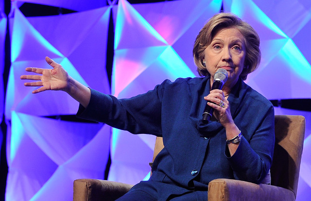 Former Secretary of State Hillary Clinton speaks during the Institute of Scrap Recycling Industries' annual conference at the Mandalay Bay hotel-casino on Thursday, April 10, 2014. Clinton, a pote ...