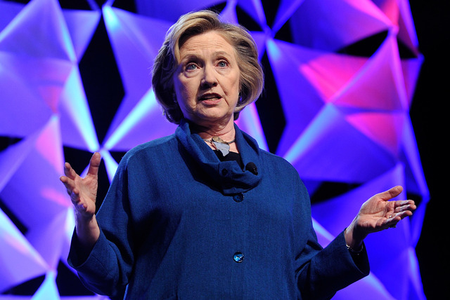Former Secretary of State Hillary Clinton speaks during the Institute of Scrap Recycling Industries' annual conference at the Mandalay Bay hotel-casino on Thursday, April 10, 2014.  Clinton will r ...