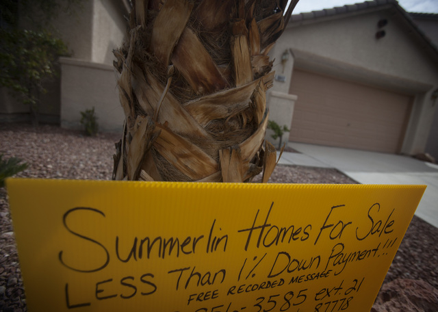 A 16-year-old home for sale at the Willows in Summerlin is seen on March 29. The median price of an existing single-family home in the Las Vegas Valley jumped to $195,000 in March, up 21.1 percent ...