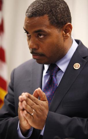 Rep. Steven Horsford, D-Nev., speaks at a news conference in Mesquite, Nev. Thursday, April 24, 2014.  (John Locher/Las Vegas Review-Journal)