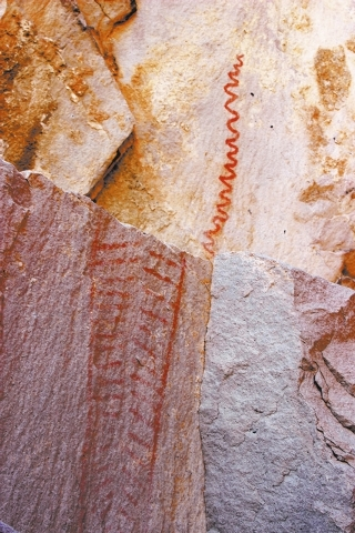 While petroglyphs are the most commonly found rock art in Keyhole Canyon, there are also a few pictographs there. (DEBORAH WALL/SPECIAL TO VIEW)