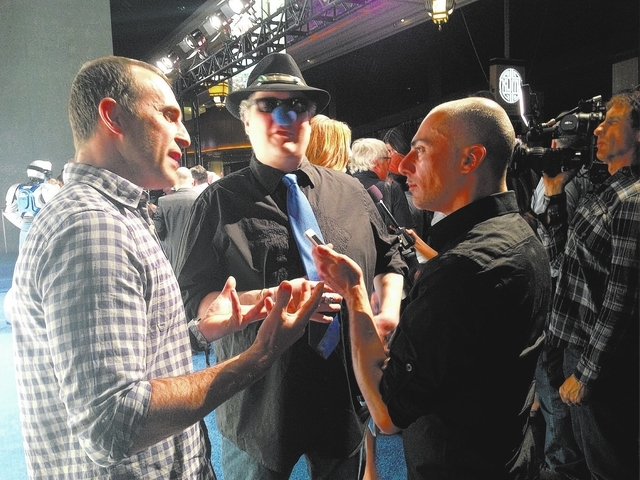 Mike Doria, right, interviews members of Blues Traveler at a recent One Drop Foundation event. (Courtesy photo)