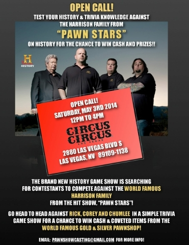 """Wanna be on 'Pawn Stars"""" spin-off TV show?. Show up noon-4 p.m. Saturday in Circus Circus. (courtesy Pawn Stars)"""
