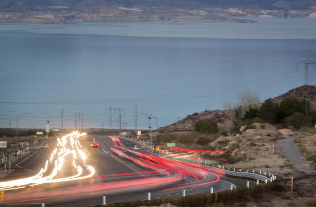 Traffic along Highway U.S. 93 east of Boulder City as seen on Friday, Dec. 27, 2013. (Jeff Scheid/Las Vegas Review-Journal)