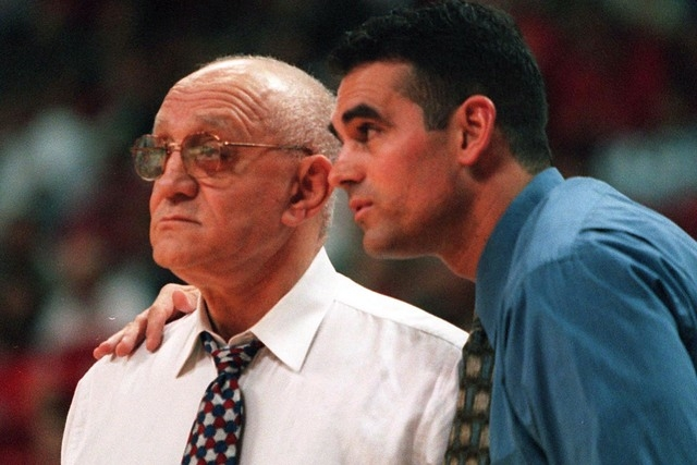 Sports Fresno State Head Basketball coach Jerry Tarkanian left and his son Danny during the game against Texas Tech. (File, Clint Karlsen/Las Vegas Review-Journal)