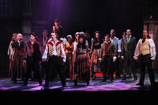 "The cast of  ""Les Miserables"" at the Summerlin Library and Performing Arts Center includes (from front, left) Anthony Meyer (Marius), Jeffrey Long ( Enjolras), Michelle White (Eponine) and Mic ..."