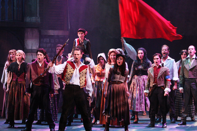 "The cast of  ""Les Miserables"" at the Summerlin Library and Performing Arts Center includes (from front, left) Anthony Meyer (Marius), Jeffrey Long (Enjolras) and Michelle White (Eponine); the  ..."