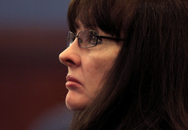 Linda Cooney is shown at a court hearing on Nov. 18, 2011, in Clark County Justice Court. Cooney is charged with shooting and paralyzing her son, Kevin Cooney, after a June 2011 fight  (Jeff Schei ...