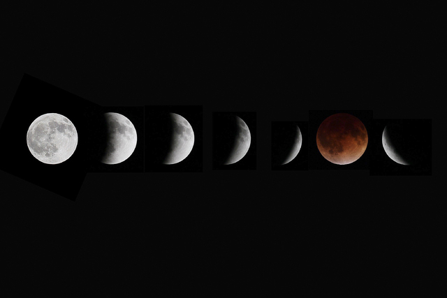 This composite photo shows multiple images of the moon during the stages of a lunar eclipse, as seen from Winnipeg, Manitoba, Canada, on Tuesday, April 15, 2014. (AP Photo/The Canadian Press, John ...