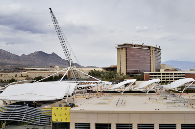 A rooftop shade structure over part of the retail space at the Shops at Summerlin on the northeast corner of Sahara Avenue and the 215 Beltway in Las Vegas is shown on Friday, April 4, 2014. The R ...