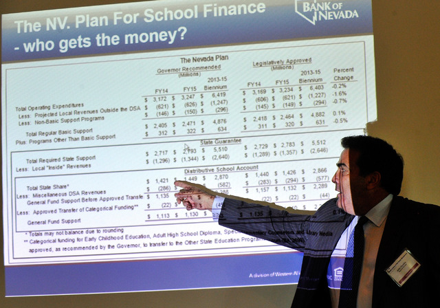 John Guedry, president and COO of Bank of Nevada, refers to his informational slide during a talk on the proposed margins tax or also known as the Education Initiative ballot measure during an Ins ...
