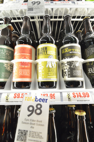 A selection of craft beers is shown at White Cross Market, 1700 Las Vegas Blvd. South, on March 6, 2014. The beer in the middle, a Elder Brett: Saison-Brett Golden Ale made by Epic Brewing Company ...