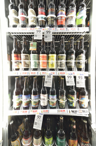 A selection of craft beers is shown at White Cross Market, 1700 Las Vegas Blvd. South, on March 6, 2014. (Bill Hughes/Las Vegas Review-Journal)