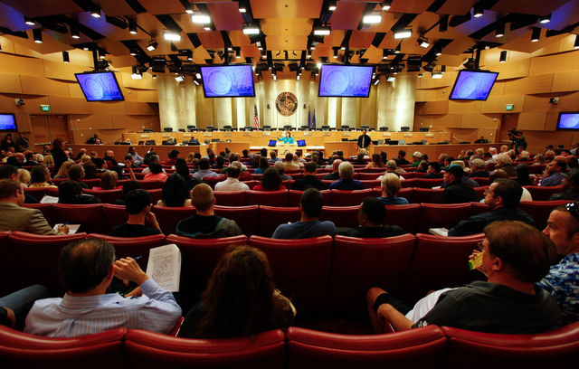 City of Las Vegas Business Licensing Manager Karen Duddlesten speaks Tuesday at Las Vegas City Hall during a meeting on zoning and licensing procedures for people interested in dispensing, distill ...