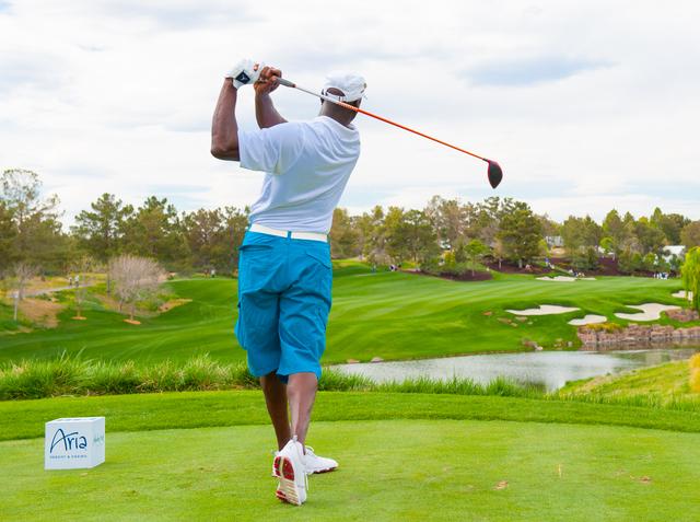dfe1db6632 Michael Jordan tees off during 12th annual Michael Jordan Celebrity  Invitational golf tournament at Shadow Creek