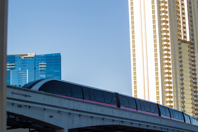The Las Vegas Monorail heads southbound towards the MGM Grand in Las Vegas on Wednesday, Jan. 15. (Chase Stevens/Las Vegas Review-Journal)