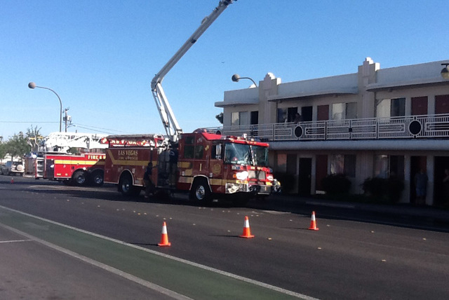 Las Vegas Fire Department responded to a fire at the Downtowner Motel near the intersection of Eighth Street and Ogden Avenue about 4 p.m. Monday. (Courtesy Las Vegas Fire Department)