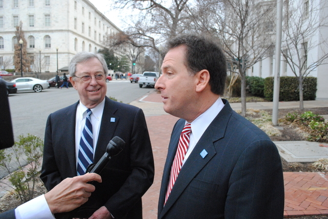 Lt. Gov. Brian Krolicki, chairman of the Nevada Host Committee, speaks to reporters Friday, March 21, outside the Republican National Committee building. Former Nevada Gov. Bob List, right, was am ...