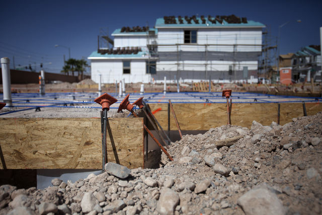 Homes at Lantern Gardens by Lennar Homes on Desert Inn Road and Tenaya Way are seen Wednesday, April 23, 2014. The homes range from 1,670 to 4966 square feet. Nationwide new home sales unexpectedl ...