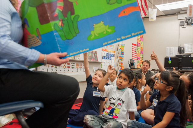 Clark County Superintendent Pat Skorkowsky, top, sits in with kindergarteners during story time at Gene Ward Elementary School in Las Vegas Thursday, April 10, 2014. The Clark County School Distri ...