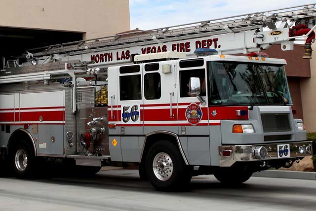 Two North Las Vegas firefighters were listed in stable condition after being injured while battling a blaze on Thursday. (Review-Journal File Photo)