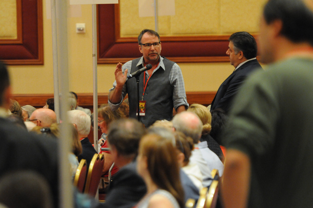Delegate Roger Stockton speaks on a motion during the annual Nevada Republican Party convention at the South Point casino-hotel in Las Vegas Saturday, April 12, 2014. (Erik Verduzco/Las Vegas Revi ...