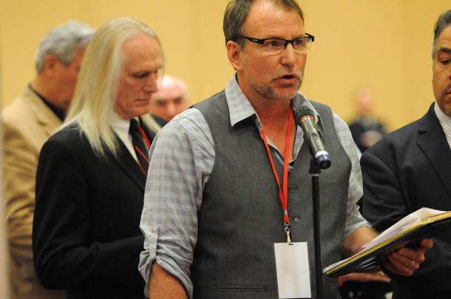 Delegate Roger Stockton makes a motion to change the rules during the annual Nevada Republican Party convention at the South Point casino-hotel in Las Vegas Saturday, April 12, 2014. (Erik Verduzc ...