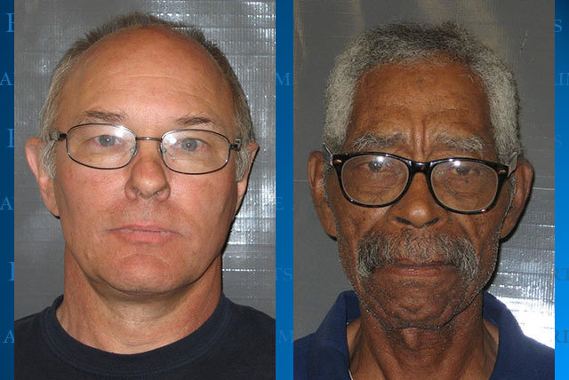 Nye County Assistant Sheriff Rick Marshall, left, and Ben Gulley, a volunteer with the sheriff's office, were arrested Tuesday in Pahrump on suspicion of stealing campaign signs and resisting arre ...