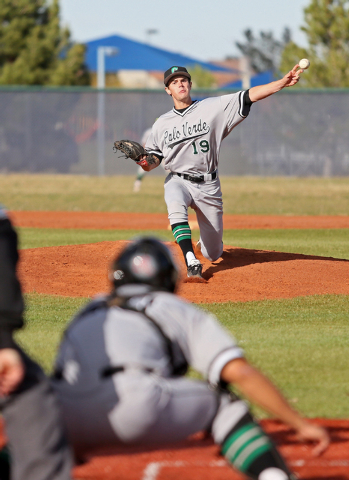 Palo Verde's Brad Steiner pitches during a baseball game against Spring Valley on Tuesday. Steiner went the distance, allowing three earned runs, to get the win as Palo Verde won, 6-5. (Ronda Chur ...