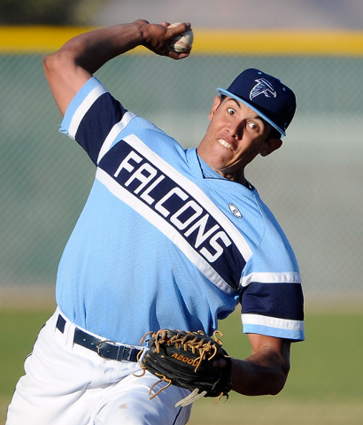 Foothill pitcher Bligh Madris trows a pitch on Monday against Liberty. Madris went 4-for-4 and threw a scoreless seventh to earn the save in an 11-9 Foothill win. (David Becker/Las Vegas Review-Jo ...