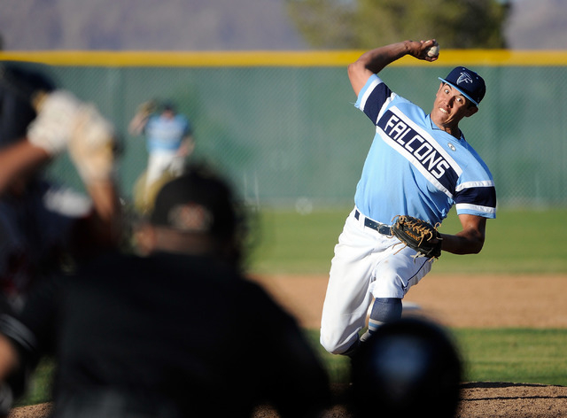 Foothill pitcher Bligh Madris fires a pitch on Monday against Liberty. Madris threw a scoreless seventh to close out an 11-9 win. (David Becker/Las Vegas Review-Journal)