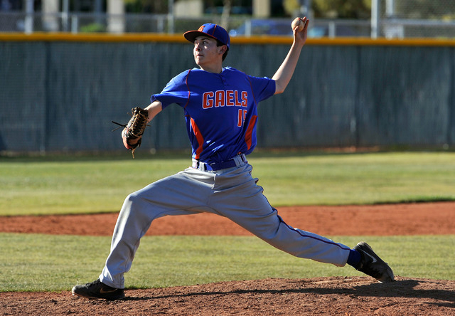 Bishop Gorman pitcher Matt Mitchell throws a pitch against Cimarron-Memorial on Monday. The freshman bounced back after getting hit with a line drive in the first inning to throw six strong inning ...