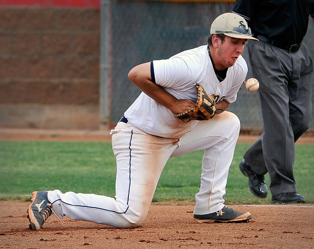Shadow Ridge first baseman Jake Wilson bobbles the ball as he fields it against Las Vegas during a high school baseball game at Las Vegas High School on Tuesday, April 15, 2014. (David Becker/Las  ...