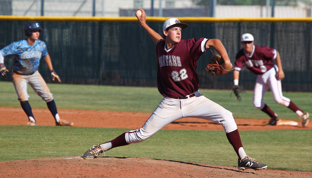 Cimarron-Memorial's Larry Quaney (22) pitches against Centennial on Tuesday. Quaney struck out 10 in 6 1/3 innings as Cimarron won, 8-3. (Chase Stevens/Las Vegas Review-Journal)