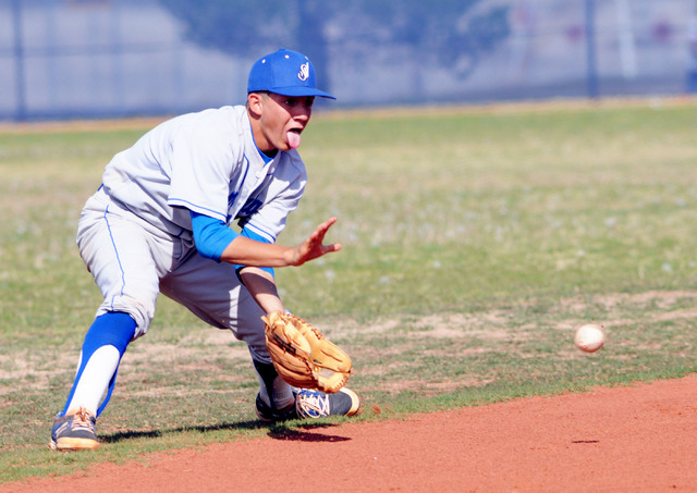 Sierra Vista's Cadin Marin fields a grounder in the second inning of their game at Shadow Ridgeon Thursday. Shadow Ridge won the game, 6-1. (Jerry Henkel/Las Vegas Review-Journal)