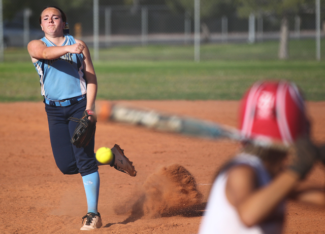 Foothill's Kayla King (32) fires a pitch at Liberty during a game at Liberty High School in Henderson on Tuesday, April 23, 2014. Foothill won 15-2. (Chase Stevens/Las Vegas Review-Journal)