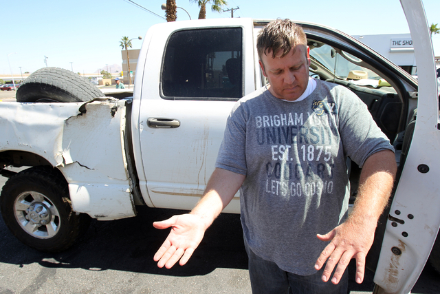 Dave Bundy, son of embattled Bunkerville rancher Cliven Bundy, to a reporter about his arrest during an interview on the corner of North Las Vegas Boulevard and East Stewart Avenue in downtown Las ...