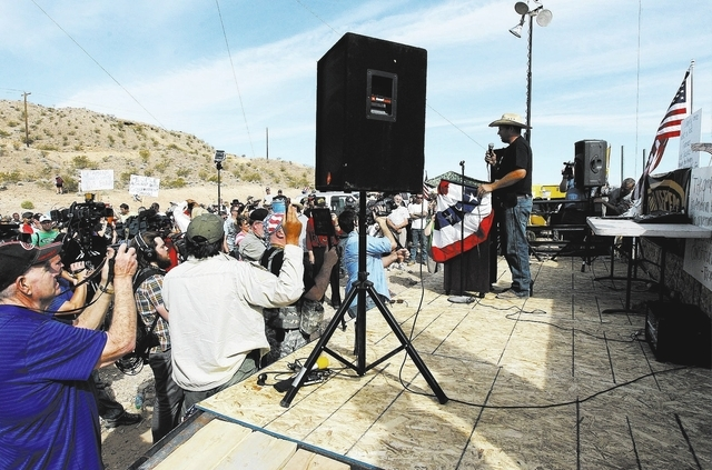 Ammon Bundy, son of rancher Cliven Bundy, speaks to his family's supporters outside of Bunkerville while gathering to challenge the BLM on April 12, 2014. (Jason Bean/Las Vegas Review-Journal)