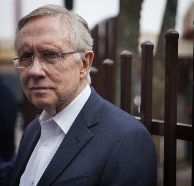 U.S. Sen. Harry Reid, D-Nev., discusses the Cliven Bundy standoff with the Bureau of Land Management while touring downtown Las Vegas on Tuesday, April 15, 2014. Reid said he's not going to second ...
