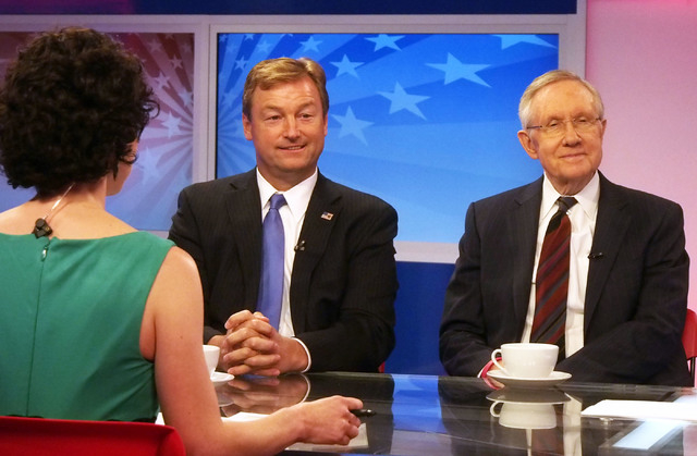 """Senators Dean Heller, R-Nev., left, and Harry Reid, D-Nev., discuss the botched roundup of Cliven Bundy's cattle, the Affordable Care Act, and other topics while appearing on """"What's Your Point?""""  ..."""