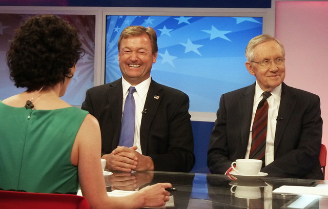 "Nevada's senators, Dean Heller (R) left, and Harry Reid (D), discuss the botched roundup of Cliven Bundy's cattle, the Affordable Care Act, and other topics while appearing on ""What's Your Po ..."