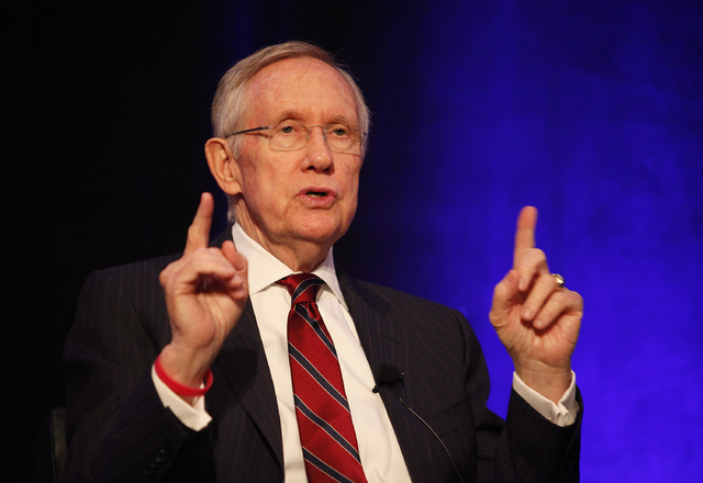 U.S. Sen. Harry Reid, D-Nev., speaks at the Las Vegas Review-Journal's Hashtags & Headlines event at Paris Hotel & Casino in Las Vegas on Thursday. (John Locher/Las Vegas Review-Journal)