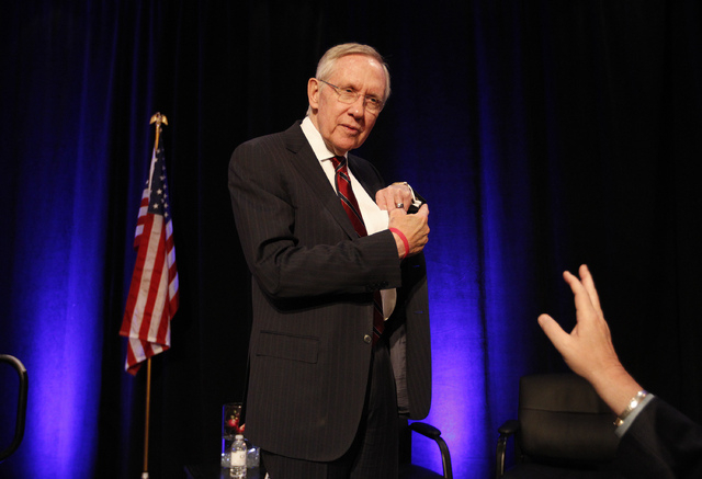 U.S. Sen. Harry Reid, D-Nev., meets with people after the Las Vegas Review-Journal'sHashtags & Headlines event at Paris Hotel & Casino in Las Vegas on Thursday. (John Locher/Las Vegas Review-Journal)