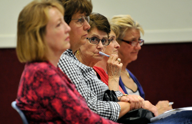 Sun City Anthem residents from left, Linda Krivec, Marge Pierzchala, Marie Mullins, Nancy Homen and Michele Turner listen during a community outreach meeting at the Whitney Ranch Recreation Center ...