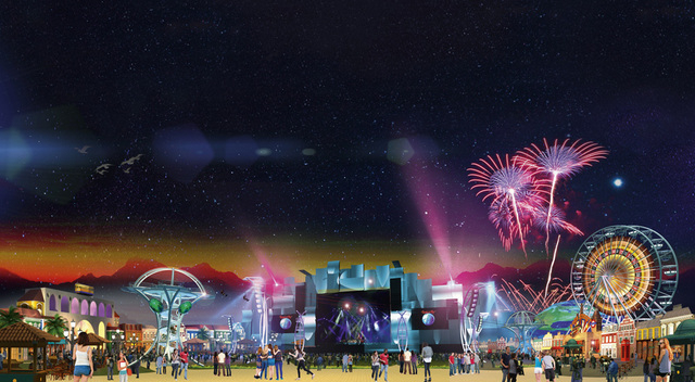 An artist's rendering of Rock In Rio's Rock City in Las Vegas. (Courtesy)