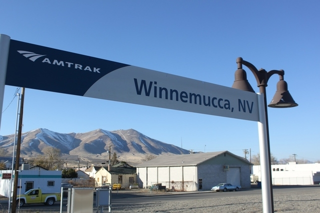 A sign for the train going in and out of Winnemucca. (Courtesy/Hal Goldblatt)