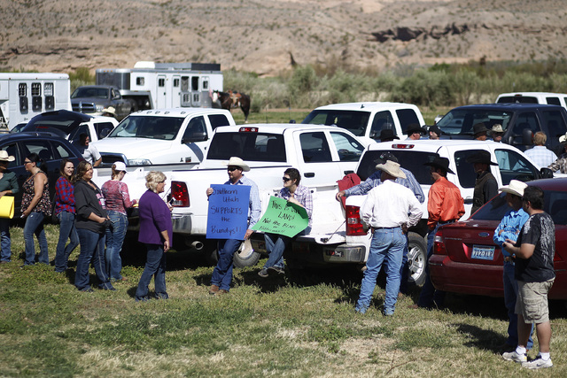 "Supports prepare to rally in support of Cliven Bundy at the Bundy ranch near Bunkerville Nev. Monday, April 7, 2014, 2014. The Bureau of Land Management has begun to round up what they call "" ..."